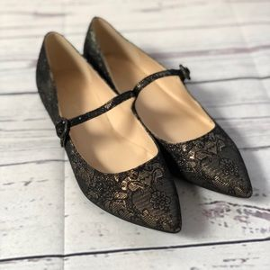 Marc Fisher Stormy Black and Gold Flats size 8
